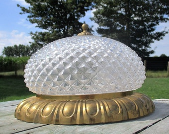 Large Vintage French Ceiling Lamp Fixture Plafonniere Brass Bubbled Glass