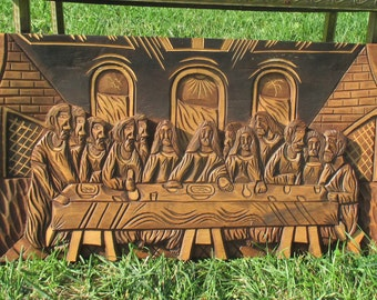 Hand Carved Wood Wall Panel Jesus Christ Angels Last supper Tableaux Lovely