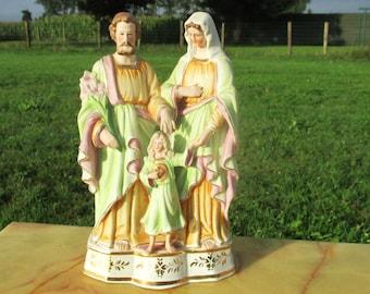 Small Vintage Holy Family Saint Joseph Virgin Mary Child Statuette Porcelain