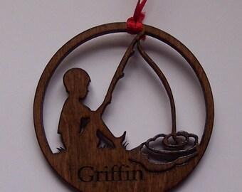 Little Boy Fishing Personalized Christmas Ornament