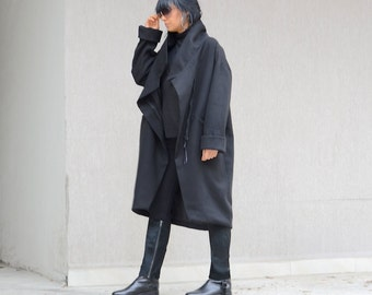Women's black coat, asymmetrical long outerwear, party coat with high neck collar, coat for plus size women, warm black winter coat