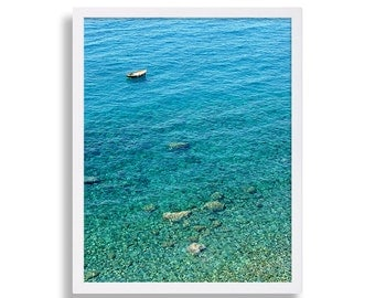 Water Print Boat Photography Ocean Art Print Cinque Terre Italy Clear Blue Water Photo Blue Art Beach Decor The Mediterranean College Poster