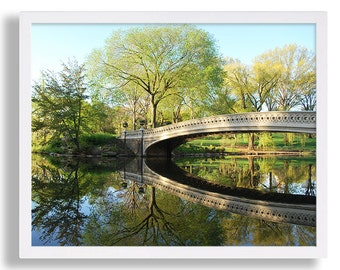 Landscape Photography Central Park Photo Bow Bridge Picture Tree Reflection Print Calm Art NYC Art Print New York Water Photography Print