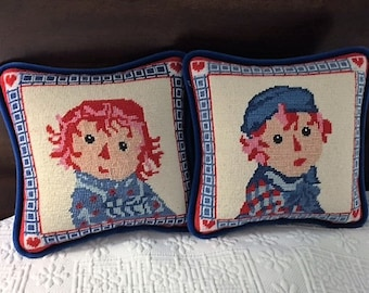 Raggedy Ann & Andy Needlepoint Pillows