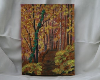 Autumn Trees, Path through Woods Landscape Trees , Original ACRYLIC Painting, on Box Canvas, Acrylic Landscape 9 by12 inches, Ready to hang