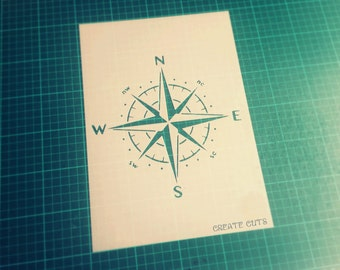 Compass Rose reusable wall STENCIL for home interior decor / Not a Decal
