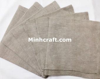 "50 hemstitch linen napkins in natural color, 50x50 cm (20""x20"")"