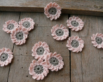 Crochet pink flowers applique, mini crochet motifs,12 Petal embellishments, set of 6 crochet applique, linen flower, Scrapbooking, ornament