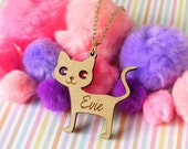 Custom Name Cute Cat Pendant Necklace - Personalised Name Necklace Laser Cut Engraved Wood - Girl Gift