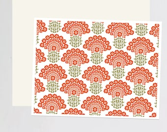 Orange Flower print Greeting Card