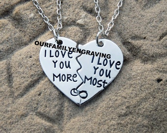 I love you more I love you most necklace set of 2
