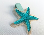Starfish Hair Clip Mermaid Blue Crystals