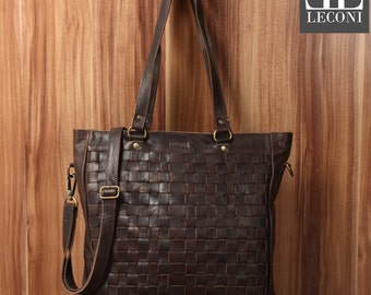 LECONI shoulder bag lady bag shopper Tote Leather dark brown LE0035-wax