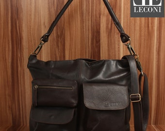 LECONI shoulder bag shoulder bag leather bag lady vintage retro leather dark brown LE0039-wax