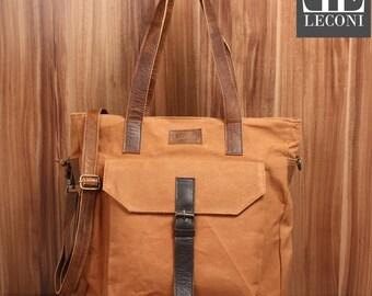 LECONI shopper shoulder bag bag shoulder bag leather canvas cognac LE0045-C
