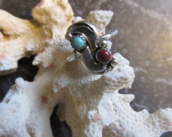 Pinky Ring Silver, Turquoise, and Coral Delicate Size 4 1/2