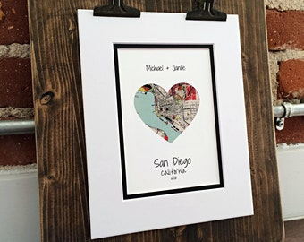 Personlized First Anniversary or Wedding Gift- Map Heart- One Year Gift- 1st Paper Anniversary- City Map Wall Art, San Diego Wall Decor