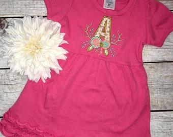 Flower Initial Ruffle Dress,Deer Antlers, Personalized Dress, Floral monogram,