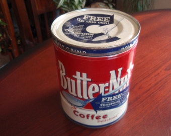 Butter-Nut Coffee Tin Can 2 Pounds Very Clean Good Color Collectible Tin a2585