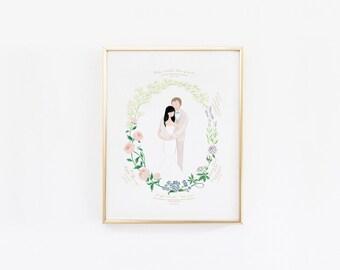 Custom Couple Wedding Illustration Love Story Flowers Meaning