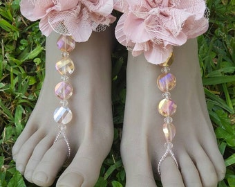 Pink Floral and Crystal Barefoot Sandals