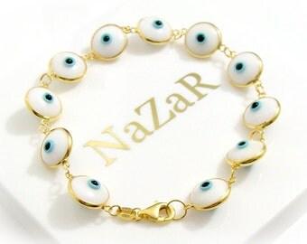 Gold Filled 925 Sterling Silver White Evil Eye Bracelet - Original Greek & Turkish Evil Eye Jewelry piece arrives in a white gift box!