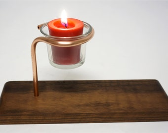 Votive Candle Holder - Copper and Black Walnut