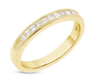 0.35 CT Natural Diamond Princess Cut Wedding Band in Solid 14k Yellow Gold