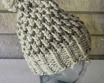 Hand Knit Pom Pon Hat