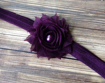 Eggplant Purple Shabby Flower Headband, Newborn Headband, Baby Headband, Toddler Headband, Girls Headband, Eggplant Headband, Photo Prop