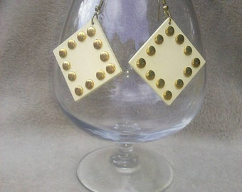 Creamy White Wood Earrings