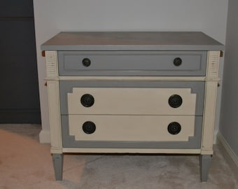 Vintage Drexel Nightstand with marble top, Annie Sloan chalk paint