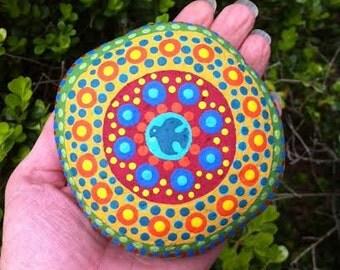 Holy Spirit Mandala Prayer Stone- painted rock-prayerful art