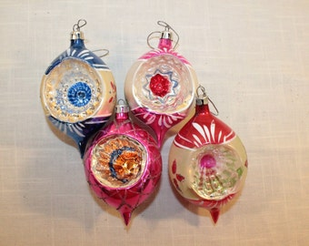 FOUR – Set of Four Teardrop Hand-Painted Indented Glass Ornaments – Poland