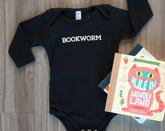 Bookworm Baby Bodysuit, Hipster Baby Long Sleeve, Baby Bodysuit, Hipster Baby, Baby Graphic Tee, Gender Neutral, Book, Infant One-piece