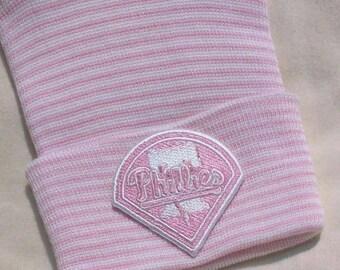 Newborn Hospital Hat. Pink Philadelphia Phillies Baseball Hospital Beanie. Baby Newborn Hats. Newborn Beanies.