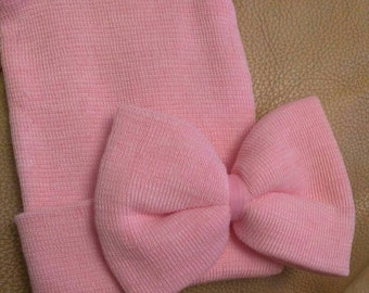 NEW! SOLID PINK Big Bow Beanies!  Newborn Hospital Beanie Hat. Perfect 1st Keepsake! Great Baby Gift! Every Baby Needs One!