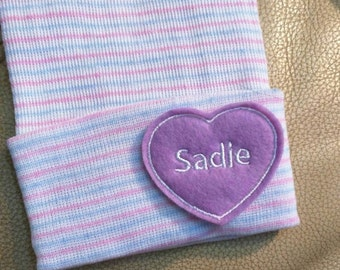 Newborn Hospital Hat Monogramed with Name! 1st Keepsake! Super Cute! Lavender Monogrammed Heart!