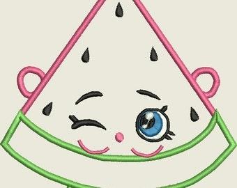 Watermelon Shopkins Melonie Pips APPLIQUE Embroidery Design DIGITAL DOWNLOAD 4x4 5x7 6x10