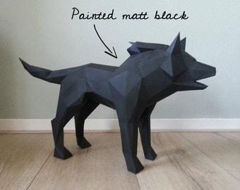 DIY Geometric big bad wolf paper sculpture (low poly papercraft)