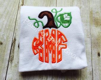 Monogrammed Pumpkin Long Sleeve Shirt