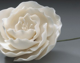 Gum Paste Full White Briar Rose- Cake Topper- Edible Flower- Wedding Cake Toppers