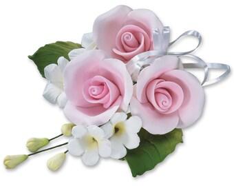 Gum Paste Light Pink Rose Cascade/ Edible Full Rose Cascade/ Rose Cake Topper/ Edible Flower Wedding Topper/ Edible Flowers/ Cake Topper