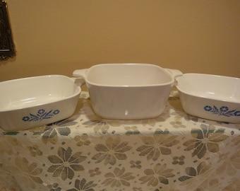 Corn Flower Blue Corning/Corn Flower Blue Casserole Dishes/Winter Frost White Corning/Winter Frost White Casserole Dishes