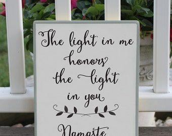 The Light In Me Yoga Wood Sign / Painted Wood Yoga Sign