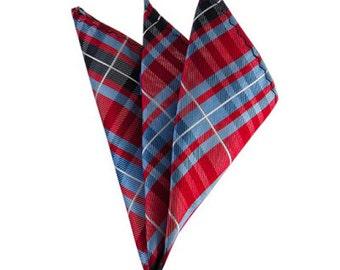 Red and Steel Blue Tartan Plaid Pocket Square
