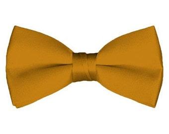 Solid Pre-Tied Gold Bar Bow Tie