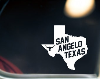 San Angelo Texas State Sticker For Car Window, Bumper, Or Laptop
