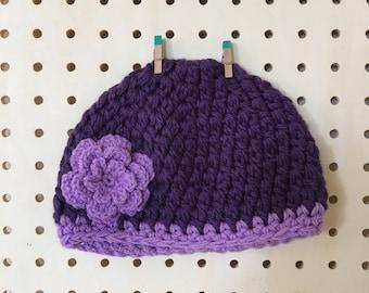 Girls purple beanie / 4 to 8 years / crochet beanie / kids beanie / purple crochet beanie / girls floral beanie / crochet flower hat