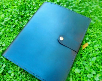 Handmade leather portfolio case in black